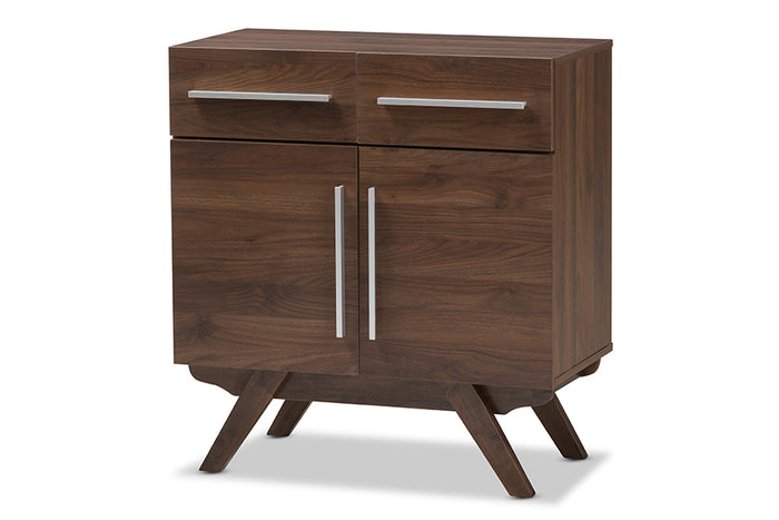 Baxton Studio Ashfield Mid-Century Modern Walnut Brown Finished Wood Sideboard