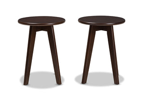 Baxton Studio Zula Mid-Century Modern Walnut Wood Stool Set of 2-Dining Chairs-HipBeds.com