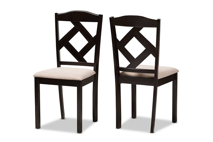 Baxton Studio Ruth Modern and Contemporary Beige Fabric Upholstered and Dark Brown Finished Dining Chair Set of 2