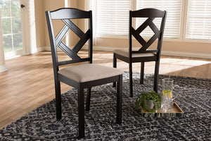 Baxton Studio Ruth Modern and Contemporary Beige Fabric Upholstered and Dark Brown Finished Dining Chair Set of 2-Dining Chairs-HipBeds.com