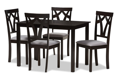 Baxton Studio Sylvia Modern and Contemporary Grey Fabric Upholstered and Dark Brown Finished 5-Piece Dining Set-Dining Sets-HipBeds.com