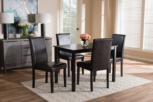 Baxton Studio Mia Modern and Contemporary Dark Brown Faux Leather Upholstered 5-Piece Dining Set-Dining Sets-HipBeds.com