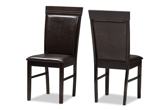 Baxton Studio Thea Modern and Contemporary Dark Brown Faux Leather Upholstered Dining Chair Set of 2
