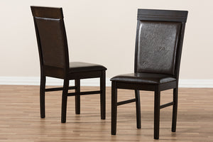 Baxton Studio Thea Modern and Contemporary Dark Brown Faux Leather Upholstered Dining Chair Set of 2-Dining Chairs-HipBeds.com