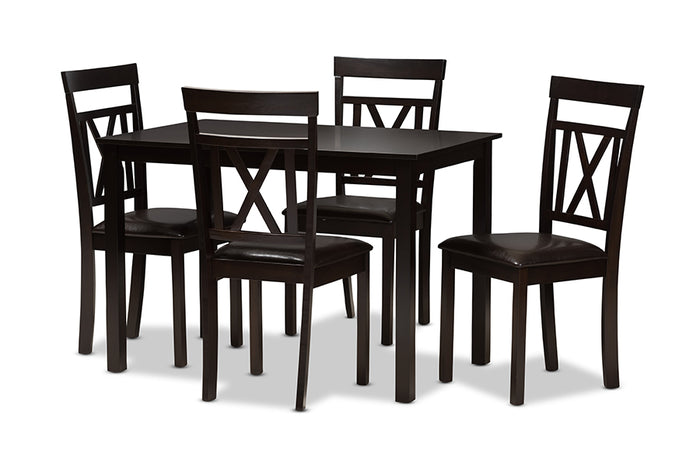 Baxton Studio Rosie Modern and Contemporary Dark Brown Faux Leather Upholstered 5-Piece Dining Set