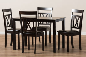 Baxton Studio Rosie Modern and Contemporary Dark Brown Faux Leather Upholstered 5-Piece Dining Set-Dining Sets-HipBeds.com