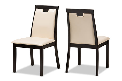 Baxton Studio Evelyn Modern and Contemporary Beige Faux Leather Upholstered and Dark Brown Finished Dining Chair Set of 2-Dining Chairs-HipBeds.com