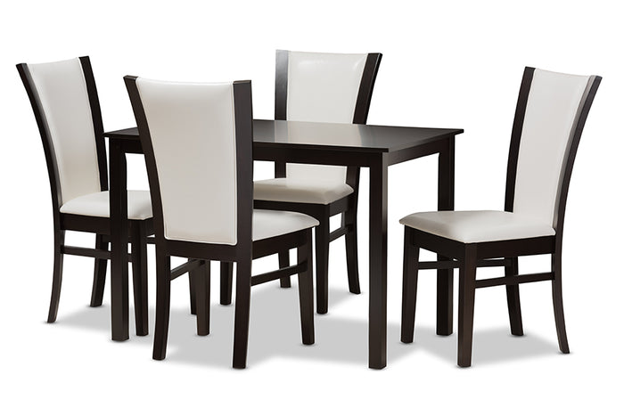 Baxton Studio Adley Modern and Contemporary 5-Piece Dark Brown Finished White Faux Leather Dining Set