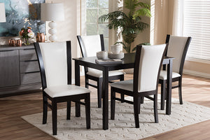 Baxton Studio Adley Modern and Contemporary 5-Piece Dark Brown Finished White Faux Leather Dining Set-Dining Sets-HipBeds.com