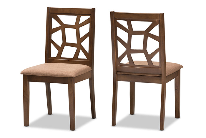 Baxton Studio Abilene Mid-Century Light Brown Fabric Upholstered and Walnut Brown Finished Dining Chair Set of 2