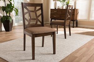 Baxton Studio Abilene Mid-Century Light Brown Fabric Upholstered and Walnut Brown Finished Dining Chair Set of 2-Dining Chairs-HipBeds.com