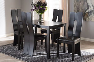 Baxton Studio Alani Modern and Contemporary Dark Brown Faux Leather Upholstered 5-Piece Dining Set-Dining Sets-HipBeds.com