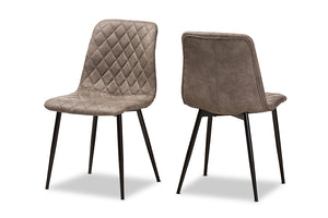 Baxton Studio Roberta Mid-Century Modern Light Brown Fabric Upholstered Shell Dining Chair Set of 2-Dining Chairs-HipBeds.com