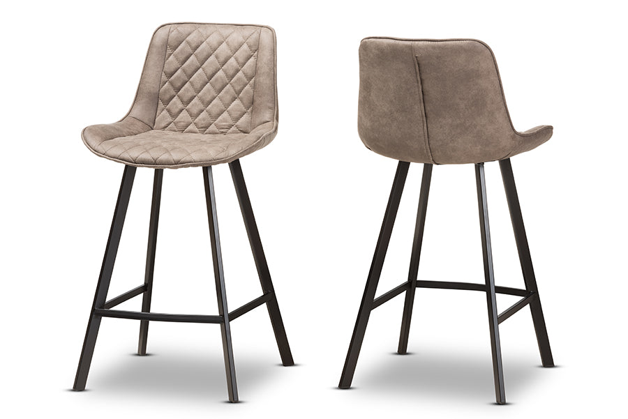 Terrific Baxton Studio Pickford Mid Century Modern Light Brown Fabric Upholstered Counter Stool Set Of 2 Squirreltailoven Fun Painted Chair Ideas Images Squirreltailovenorg