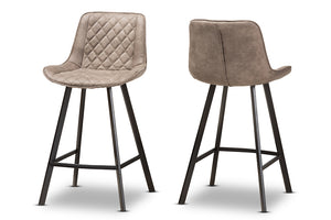 Baxton Studio Pickford Mid-Century Modern Light Brown Fabric Upholstered Counter Stool Set of 2-Table & Bar Stools-HipBeds.com