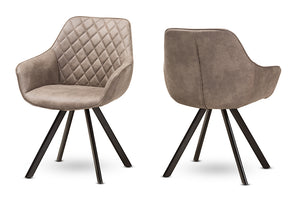 Baxton Studio Pamela Mid-Century Modern Light Brown Fabric Upholstered Dining Chair Set of 2-Dining Chairs-HipBeds.com