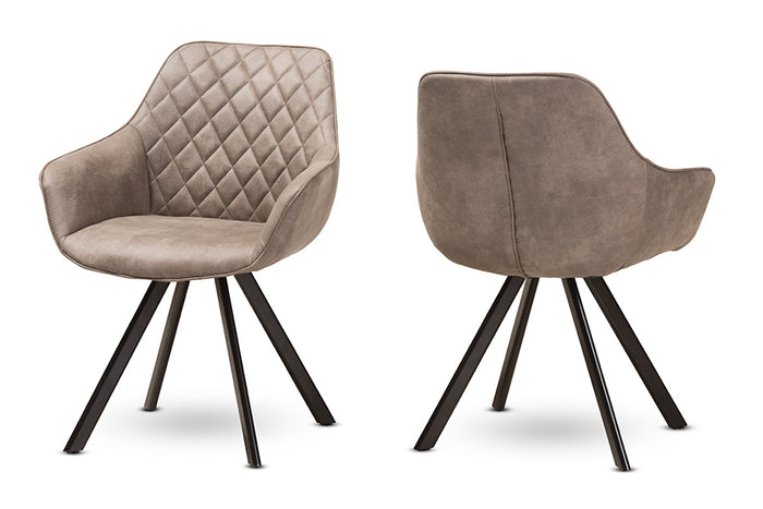 Baxton Studio Pamela Mid-Century Modern Light Brown Fabric Upholstered Dining Chair Set of 2