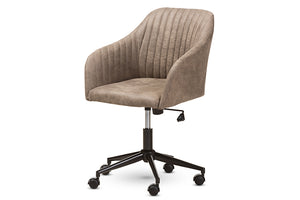 Baxton Studio Maida Mid-Century Modern Light Brown Fabric Upholstered Office Chair Image 3