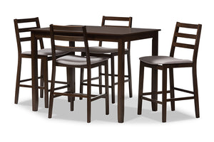 Baxton Studio Nadine Modern and Contemporary Walnut-Finished Light Grey Fabric Upholstered 5-Piece Pub Set Image 3