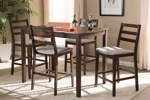 Baxton Studio Nadine Modern and Contemporary Walnut-Finished Light Grey Fabric Upholstered 5-Piece Pub Set Image 6