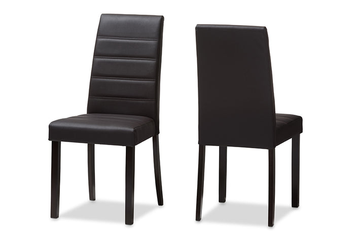 Baxton Studio Lorelle Modern and Contemporary Brown Faux Leather Upholstered Dining Chair Set of 2