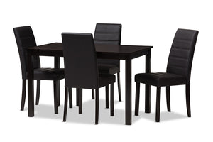 Baxton Studio Lorelle Modern and Contemporary Brown Faux Leather Upholstered 5-Piece Dining Set-Dining Sets-HipBeds.com