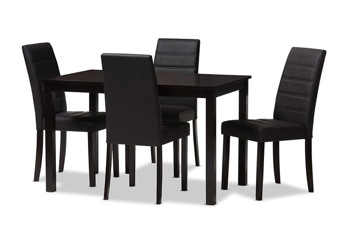 Baxton Studio Lorelle Modern and Contemporary Brown Faux Leather Upholstered 5-Piece Dining Set