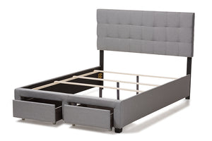 Baxton Studio Tibault Modern and Contemporary Grey Fabric Upholstered Queen Size Storage Bed-Storage Beds-HipBeds.com