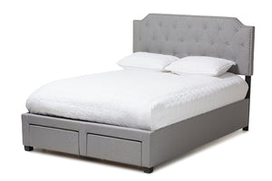 Baxton Studio Aubrianne Modern and Contemporary Grey Fabric Upholstered King Size Storage Bed Image 3
