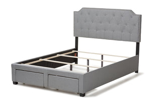 Baxton Studio Aubrianne Modern and Contemporary Grey Fabric Upholstered Queen Storage Bed-Storage Beds-HipBeds.com