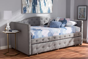 Baxton Studio Gwendolyn Modern and Contemporary Grey Fabric Upholstered Daybed with Trundle Image 9