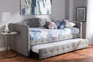 Baxton Studio Gwendolyn Modern and Contemporary Grey Fabric Upholstered Daybed with Trundle Image 10