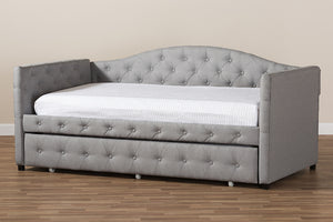 Baxton Studio Gwendolyn Modern and Contemporary Grey Fabric Upholstered Daybed with Trundle Image 11
