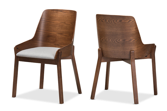 Baxton Studio Rye Mid-Century Modern Walnut Wood Light Grey Fabric Dining Chair Set of 2