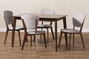 Baxton Studio Tarelle Mid-Century Modern Walnut-Finished Light Grey Fabric Upholstered 5-Piece Dining Set-Dining Sets-HipBeds.com