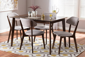 Baxton Studio Matilda Mid-Century Modern Walnut-Finished Light Grey Fabric Upholstered 5-Piece Dining Set-Dining Sets-HipBeds.com