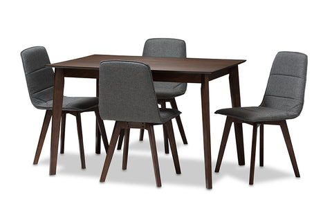 Baxton Studio Karalee Mid-Century Modern Dark Grey Fabric Upholstered 5-Piece Dining Set-Dining Sets-HipBeds.com