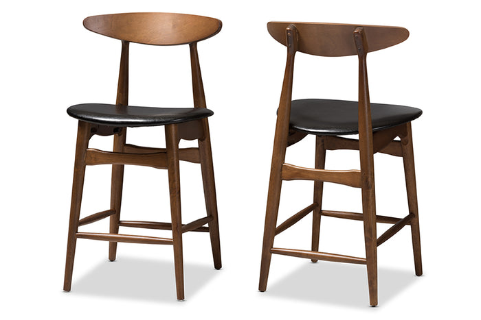 Baxton Studio Flora Mid-Century Modern Black Faux Leather Upholstered Walnut Finished Counter Stool Set of 2