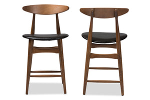 Baxton Studio Flora Mid-Century Modern Black Faux Leather Upholstered Walnut Finished Counter Stool Set of 2-Table & Bar Stools-HipBeds.com