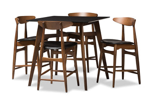 Baxton Studio Flora Mid-Century Modern Black Faux-Leather Upholstered Walnut Finished 5-Piece Pub Set Image 3