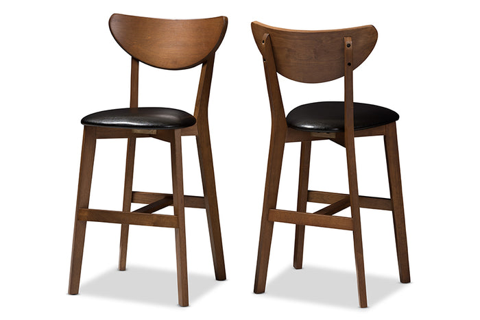 Baxton Studio Eline Mid-Century Modern Black Faux Leather Upholstered Walnut Finished Counter Stool Set of 2