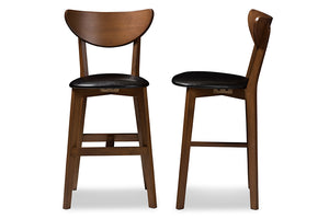 Baxton Studio Eline Mid-Century Modern Black Faux Leather Upholstered Walnut Finished Counter Stool Set of 2-Table & Bar Stools-HipBeds.com