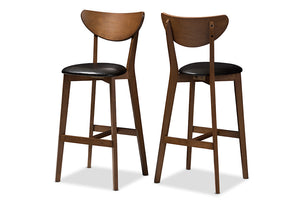 Baxton Studio Eline Mid-Century Modern Black Faux Leather Upholstered Walnut Finished Bar Stool Set of 2-Table & Bar Stools-HipBeds.com