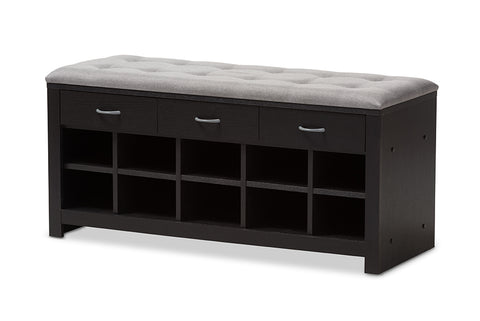 Baxton Studio Modern and Contemporary Espresso Finished Grey Fabric Upholstered Cushioned Entryway Bench-Shoe Cabinets-HipBeds.com