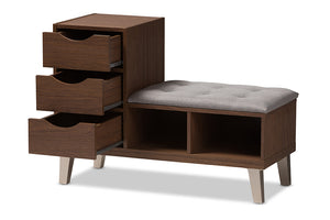 Baxton Studio Arielle Modern and Contemporary Walnut Wood 3-Drawer Shoe Storage Grey Fabric Upholstered Seating Bench with Two Open Shelves-Shoe Cabinets-HipBeds.com