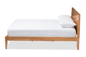 Baxton Studio Marana Modern and Rustic Natural Oak and Pine Finished Wood Full Size Platform Bed-Platform Beds-HipBeds.com