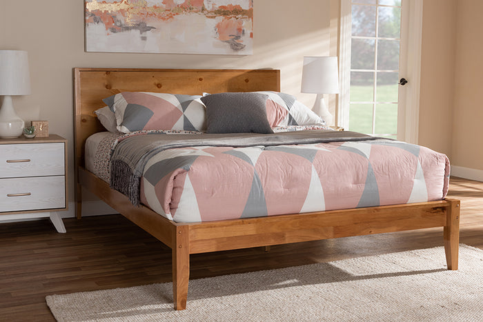 Baxton Studio Marana Modern and Rustic Natural Oak and Pine Finished Wood Queen Size Platform Bed