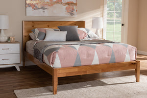 Baxton Studio Marana Modern and Rustic Natural Oak and Pine Finished Wood Queen Size Platform Bed-Platform Beds-HipBeds.com