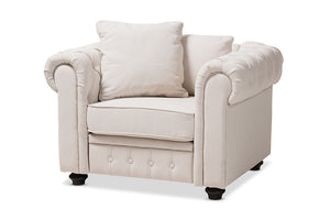Baxton Studio Alaise Modern Classic Beige Linen Tufted Scroll Arm Chesterfield Chair Image 3