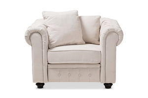 Baxton Studio Alaise Modern Classic Beige Linen Tufted Scroll Arm Chesterfield Chair Image 4